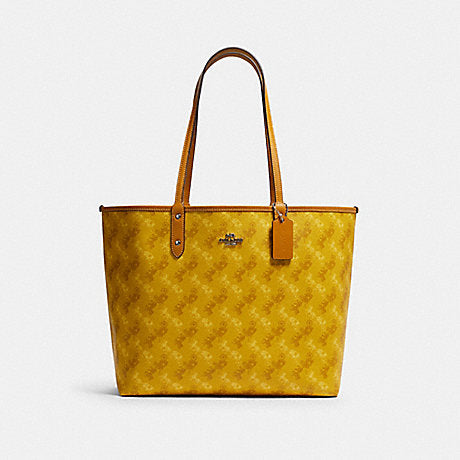 Coach Reversible City Tote with Horse and Carriage Print in Yellow