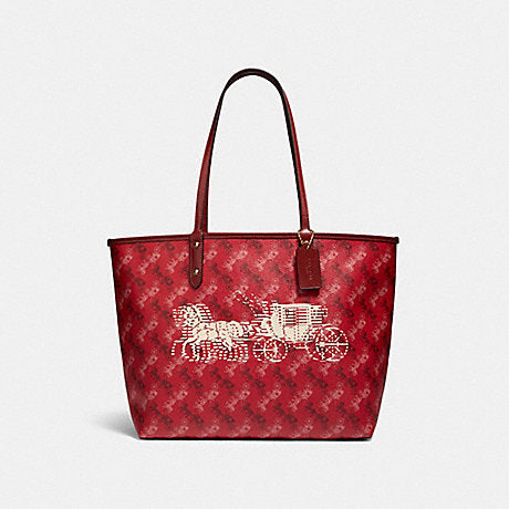 Coach Reversible City Tote with Horse and Carriage Print in Red