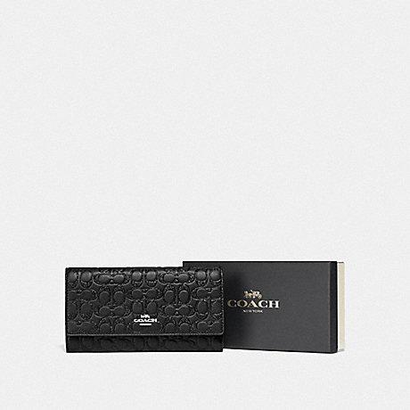 Coach Boxed Trifold Wallet in Glitter Debossed Leather Black