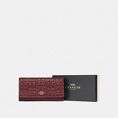 Coach Boxed Trifold Wallet in Glittery Embossed Wine