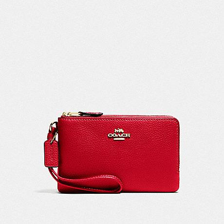 Coach Small Double Corner Zip Wristlet in Bright Red