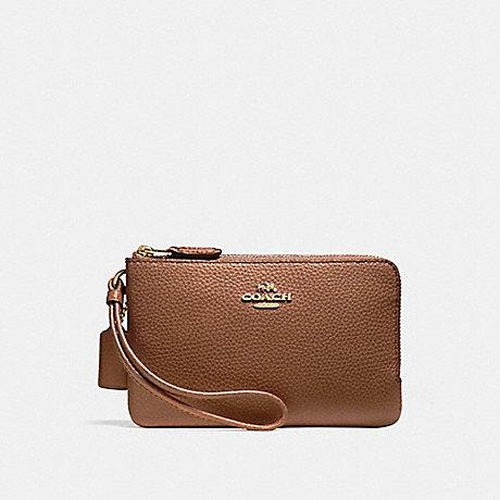 Coach Small Double Corner Zip Wristlet In Leather Dark Saddle