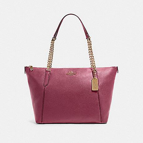 Coach Ava Chain Tote in Leather Dark Berry