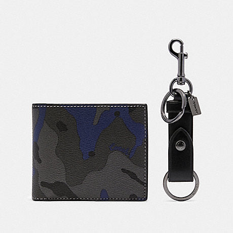 Coach Boxed ID Billford Wallet 3-In-1 Camo Print Gift Set