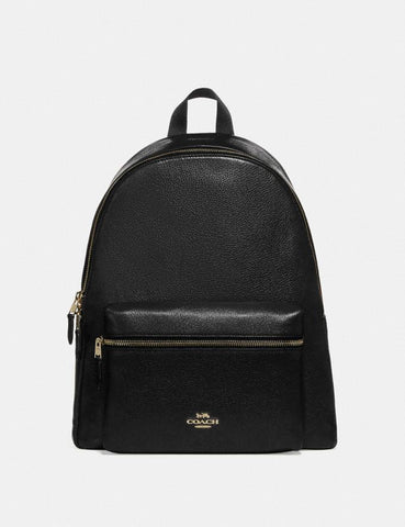 Coach Charlie Large Backpack Leather In Black