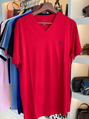 Polo Small Pony V Neck T-shirt In Red