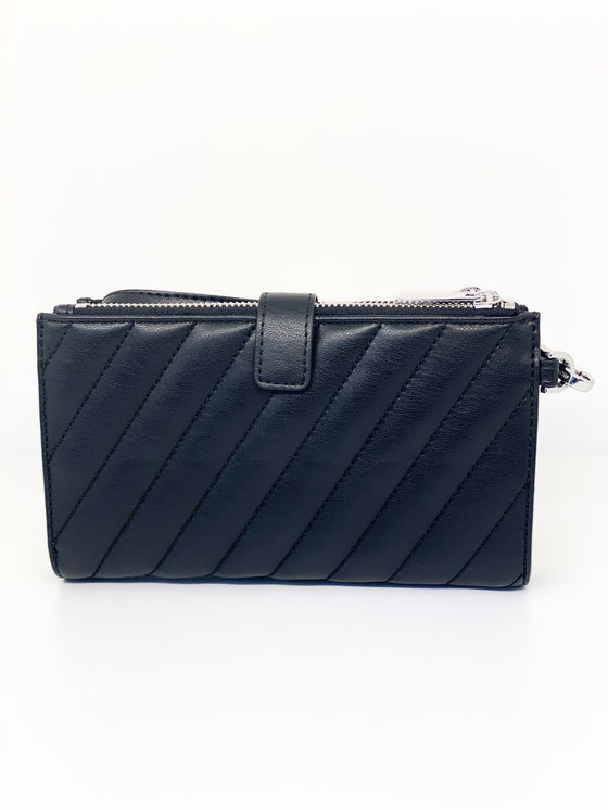 Michael Kors Large Peyton Phone Wristlet In Quilted Black (Silver Hardware)