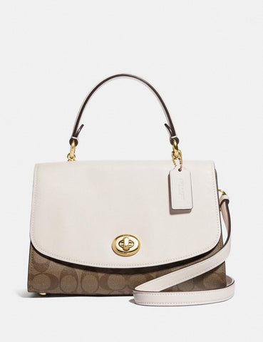 Coach Tilly Top Handle Satchel In Signatuture Khaki/Off White