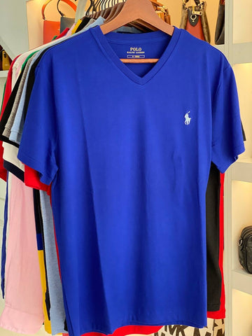 Polo Small Pony V Neck T-shirt In Royal Blue