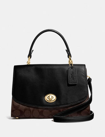 Coach Tilly Top Handle Satchel In Signature Brown Black