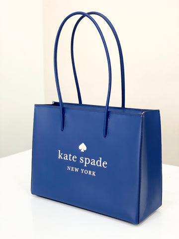Kate Spade Trista Leather Large Shopper Tote In RiverBlue