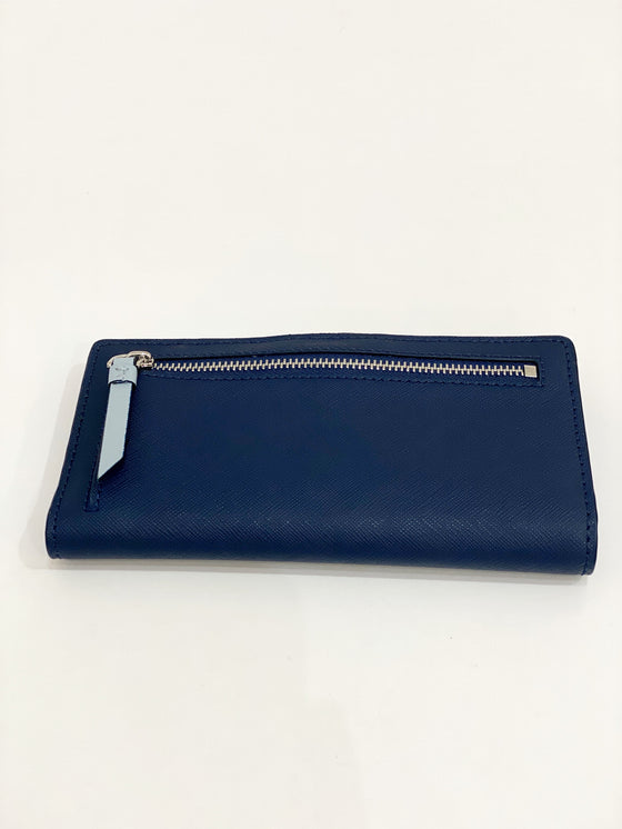 Kate Spade Cameron Large Slim Bifold In Blue Colorblock