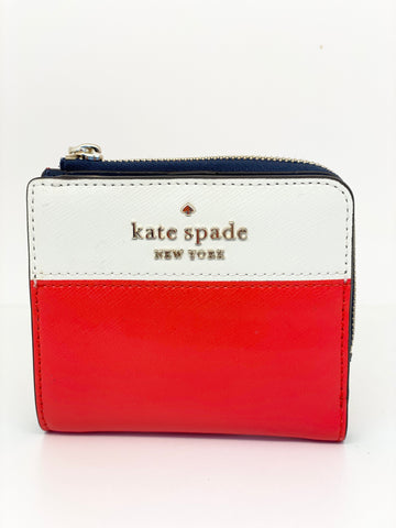 Kate Spade Staci  Small L-zip Bifold Wallet Red Multi