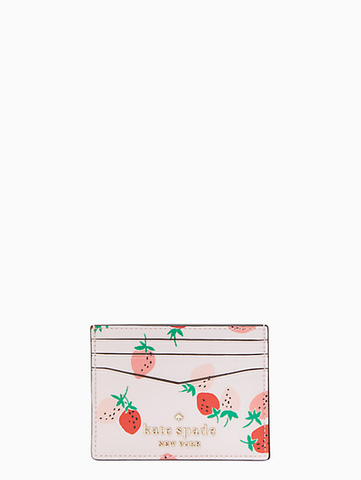 Kate Spade Small Slim Card Holder Staci Wild Strawberries Pink Multi