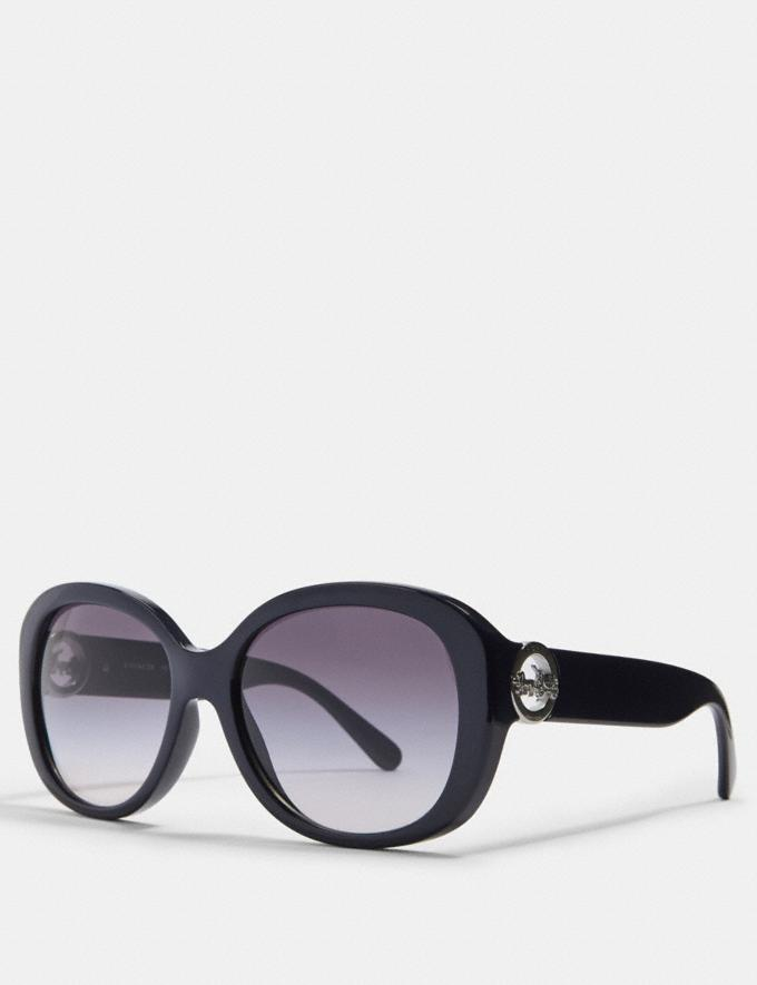 Coach Oversized Metal Soft Square Sunglasses In Transparent Navy
