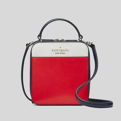 Daisy Vanity Crossbody In Colorblock Red Multy