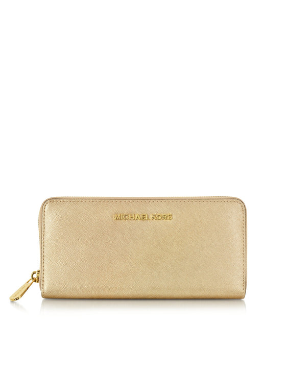 Michael Kors Travel Continental Purse in Leather Gold