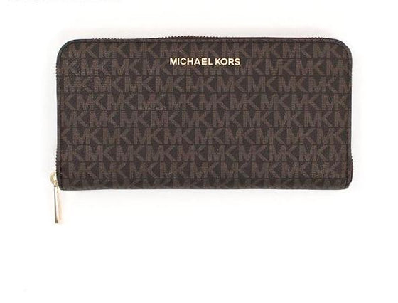 Michael Kors Jet Set Travel XL Wallet In Monogram Brown