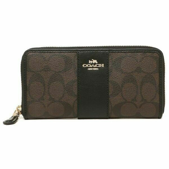 Coach Accordion Zip Wallet In Signature Brown Black