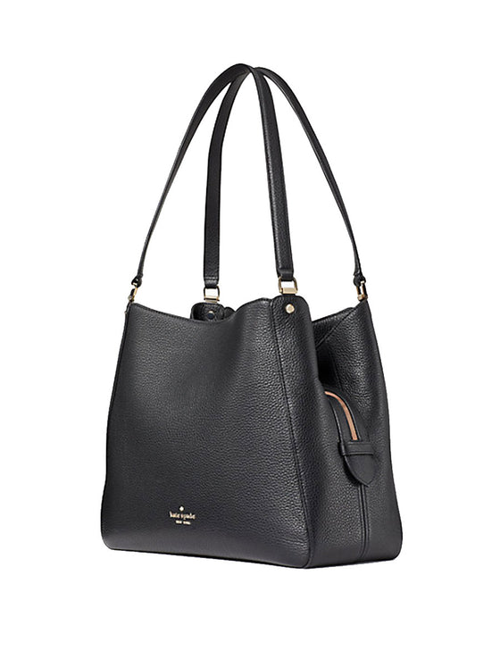 Kate Spade Leila Medium Triple Compartment Shoulder Bag In Black