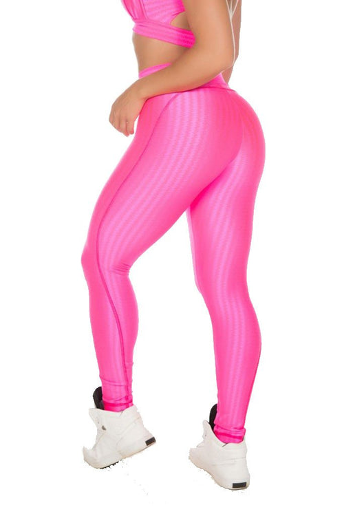 GAROTA FIT Hot Pink Worked Cire Pilates Tights