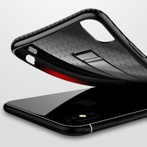 Case For iPhone X 8  7 6  6S Carbon Fiber Ring Stand