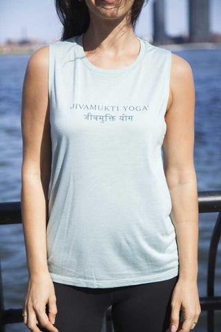 Womens Jivamukti Muscle Tank (Dusty Blue)