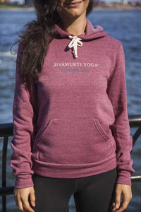 Unisex Jivamukti Eco-Fleece Pullover Hoodie (True Currant)