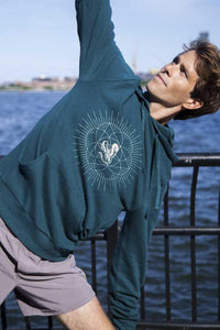 Unisex Jivamukti French Terry Pullover Hoodie (Dark Teal)