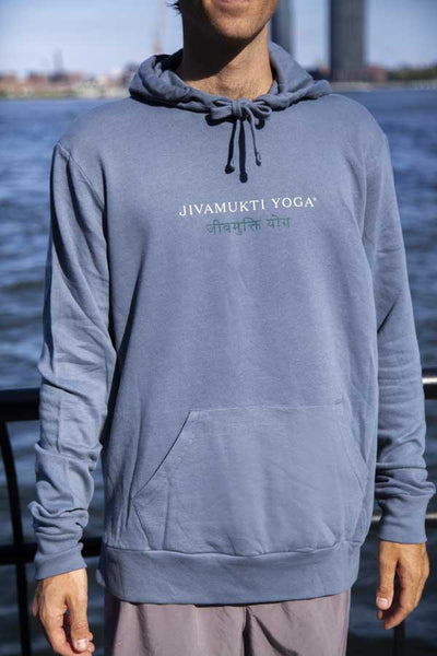 Unisex Jivamukti French Terry Pullover Hoodie (Washed Denim)