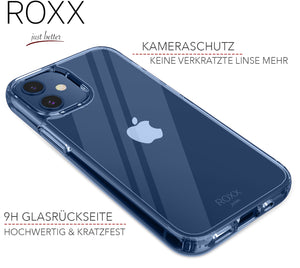 ROXX Apple iPhone 12 Mini 5,7 Zoll Antigelb Clear Case Hardcase Hülle | 9H Kratzfeste Glasrückseite