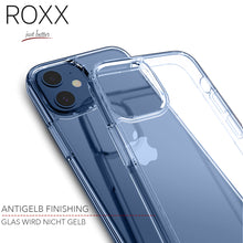 ROXX Apple iPhone 12 Mini 5,4 Zoll Antigelb Clear Case Hardcase Hülle | 9H Kratzfeste Glasrückseite