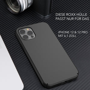 ROXX Apple iPhone 12 & 12 Pro Slim Case | Hardcase mit Innenschutz & Displayschutz