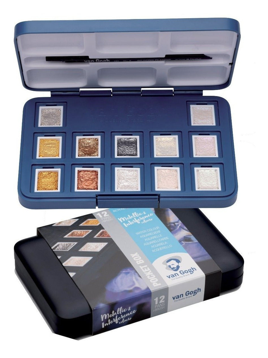 Juletilbud% Van Gogh METALLIC Akvarel Pocket Box med 12 pans