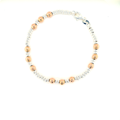 Silver and Rose Gold round & Faceted Bead Bracelet
