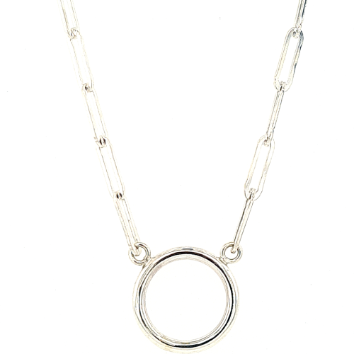 Silver paperClip necklace with circle pendant