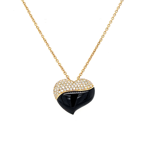 Rose Gold Onyx & Diamond Heart Pendant Necklace