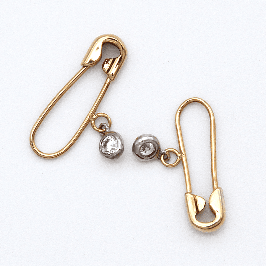 Safety Pin Earrings - 9ct Gold with Cubic Zirconia Charm