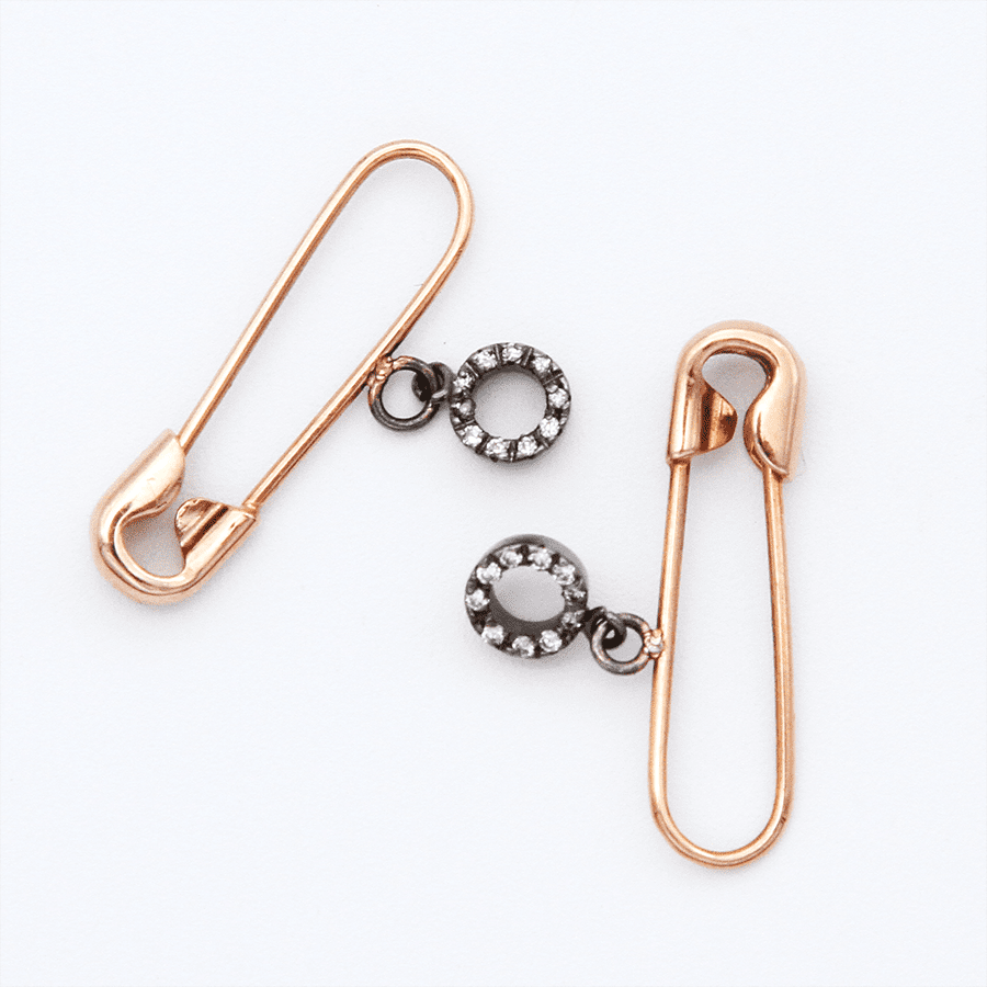 Safety Pin Earrings - 9ct Rose Gold with Small Diamond Charm