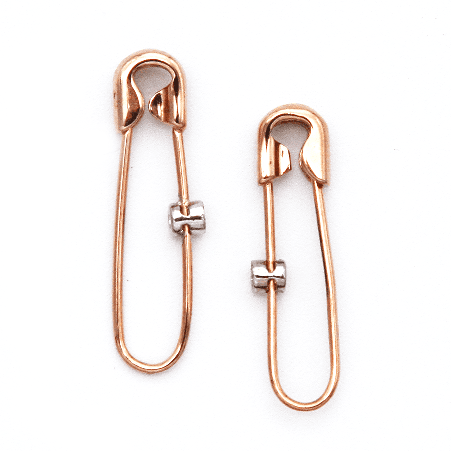 Safety Pin Earrings - 9ct Rose Gold with Single Diamond Charm