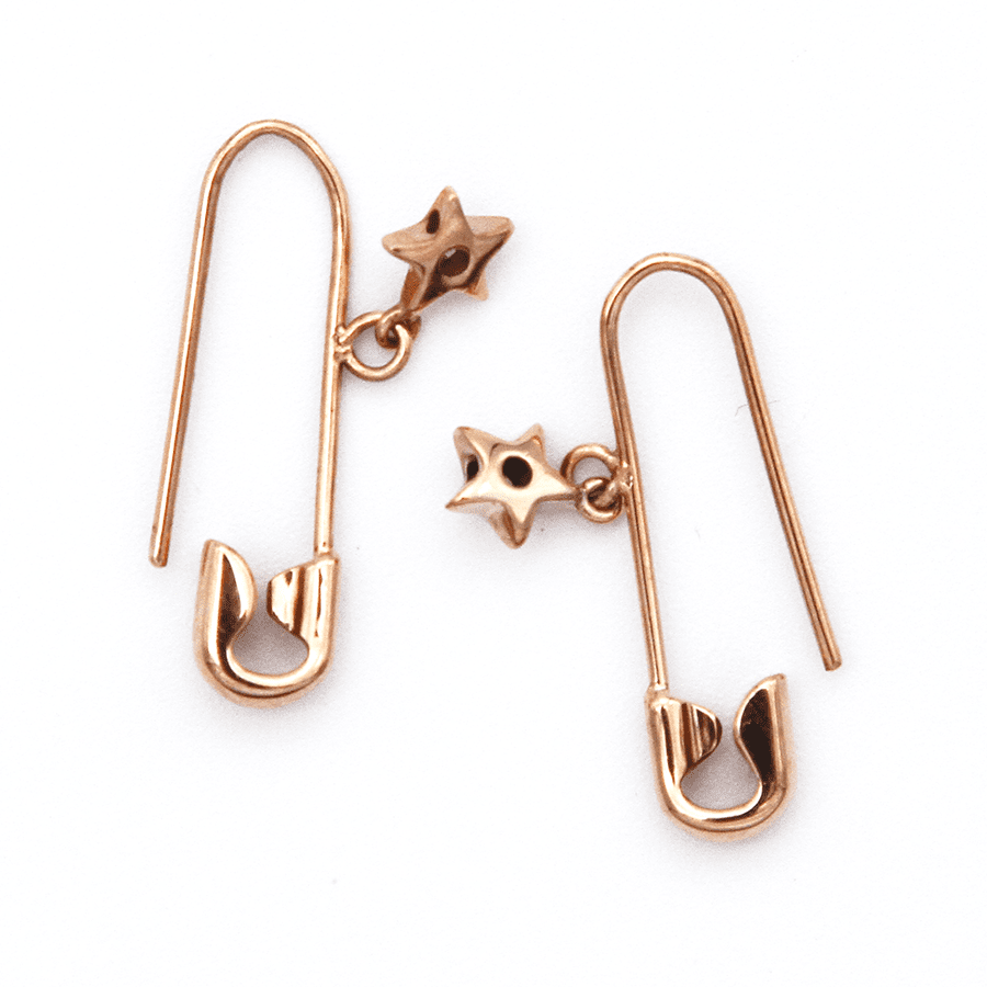 Safety Pin Earrings - 9ct Rose Gold with Star Charm