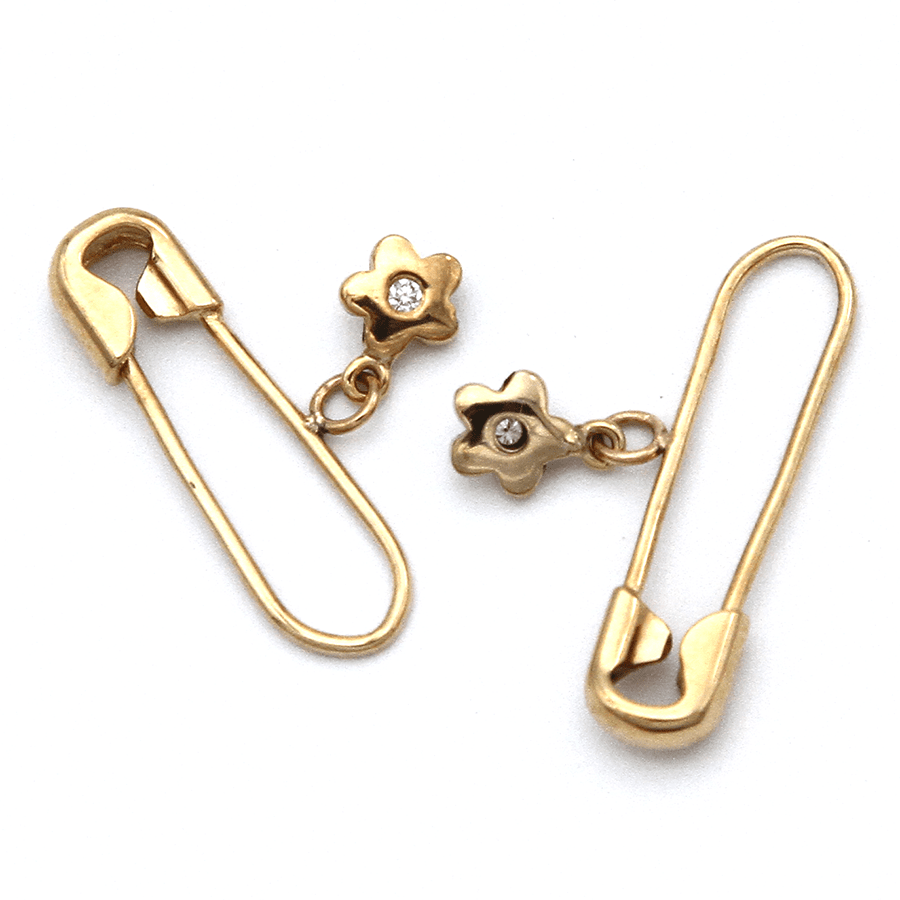 Safety Pin Earrings - 9ct Gold with Star & Diamond Charm