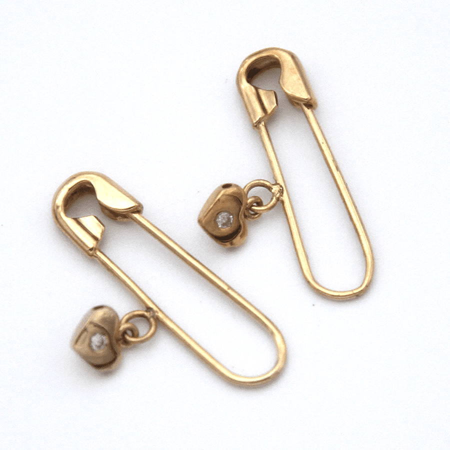 Safety Pin Earrings - 9ct Gold with Heart & Diamond Charm