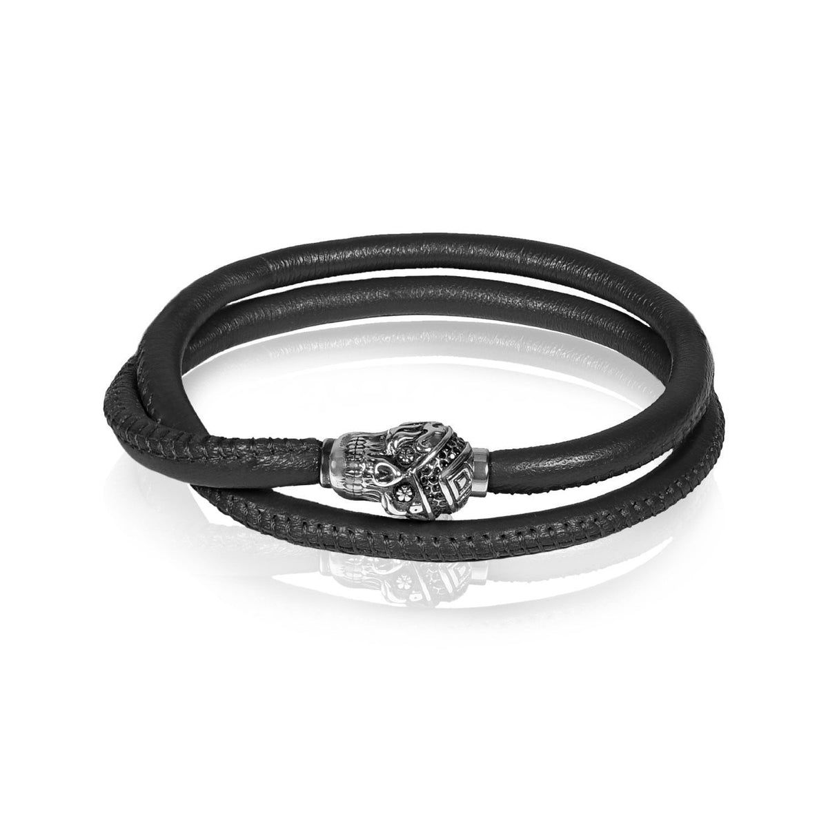 A.R.Z Steel - Stainless Steel Skull Dark Brown Bracelet