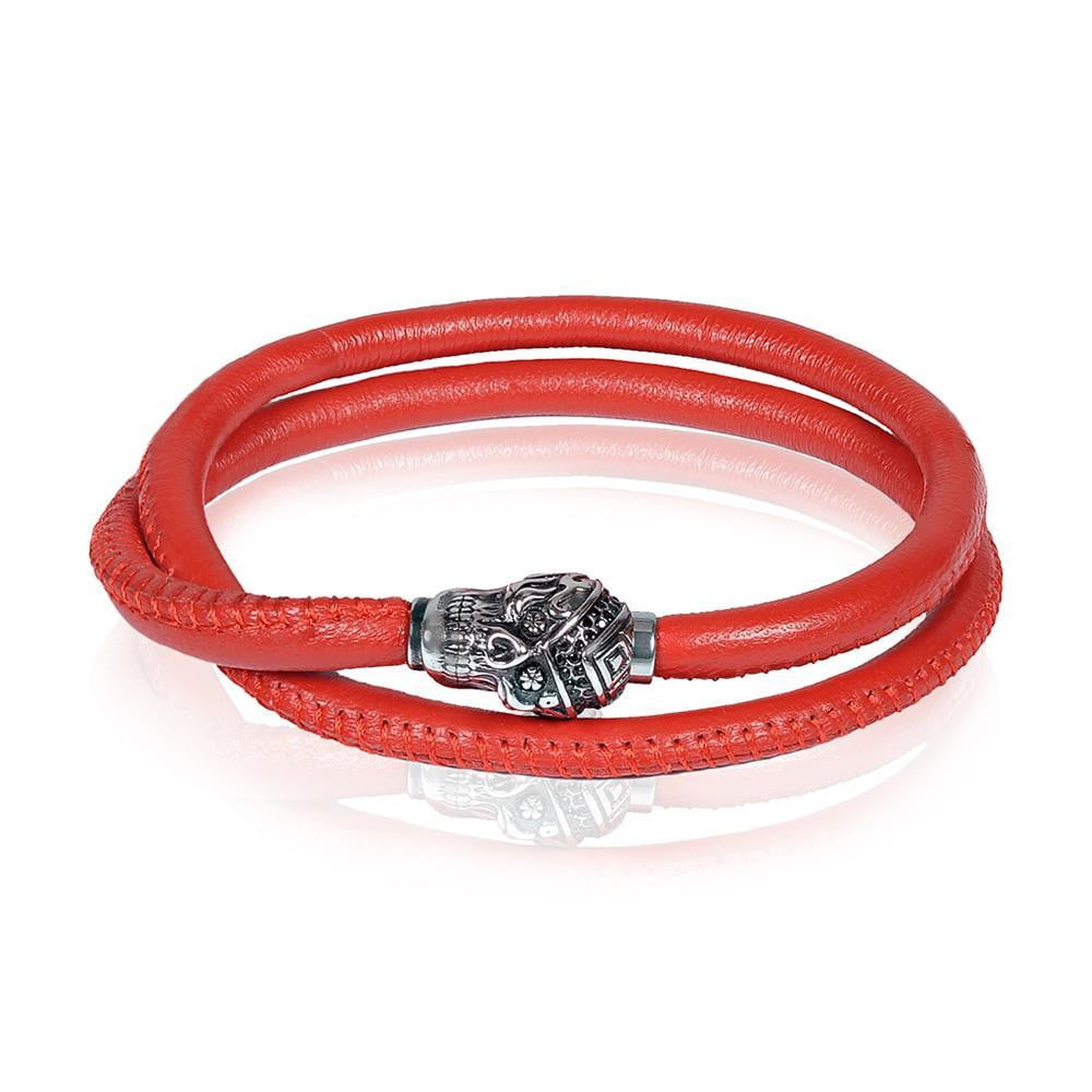 A.R.Z Steel - Stainless Steel Skull Red Leather Bracelet