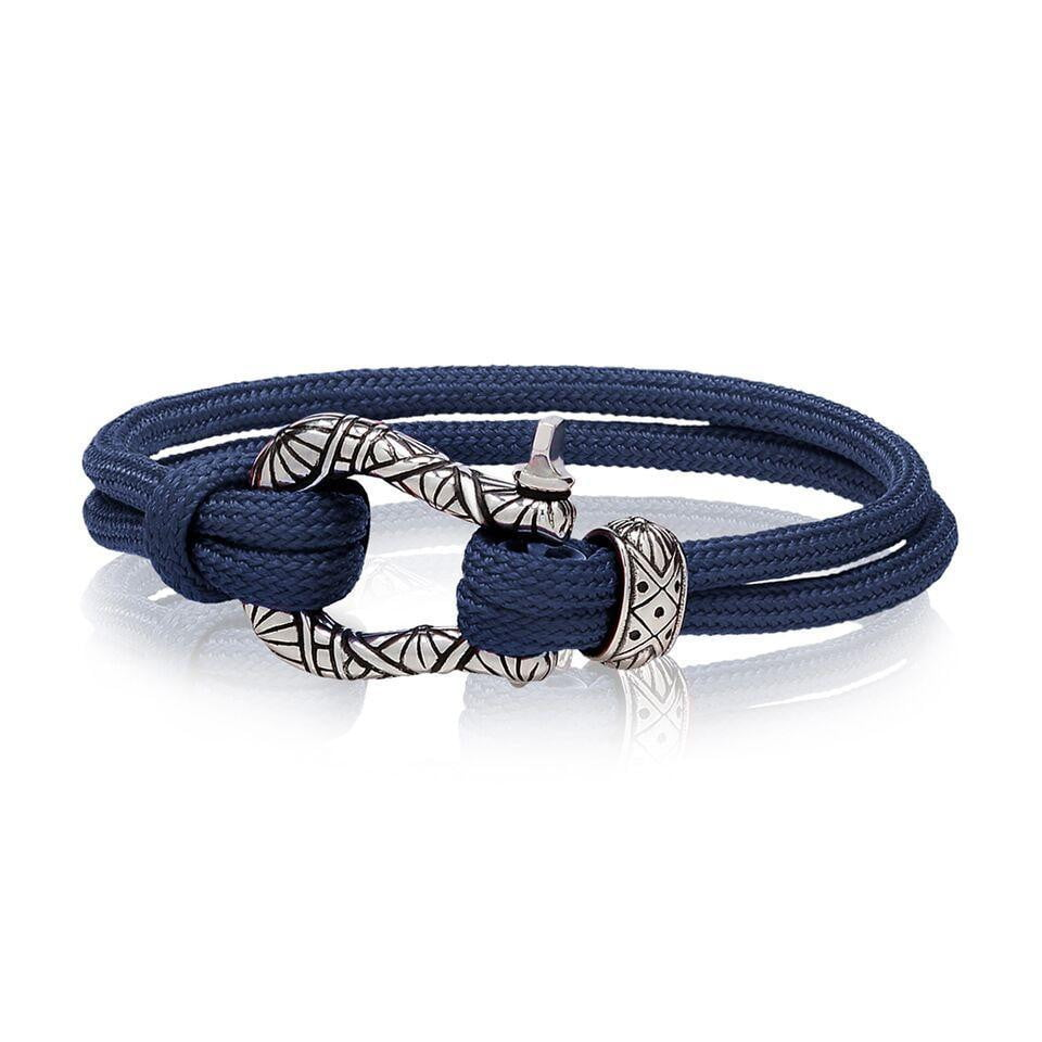 A.R.Z Steel - Buckle Carved Clasp Blue Cord Bracelet