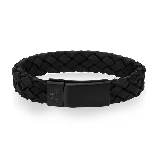 A.R.Z Steel - Leather Broad Braided Black Bracelet