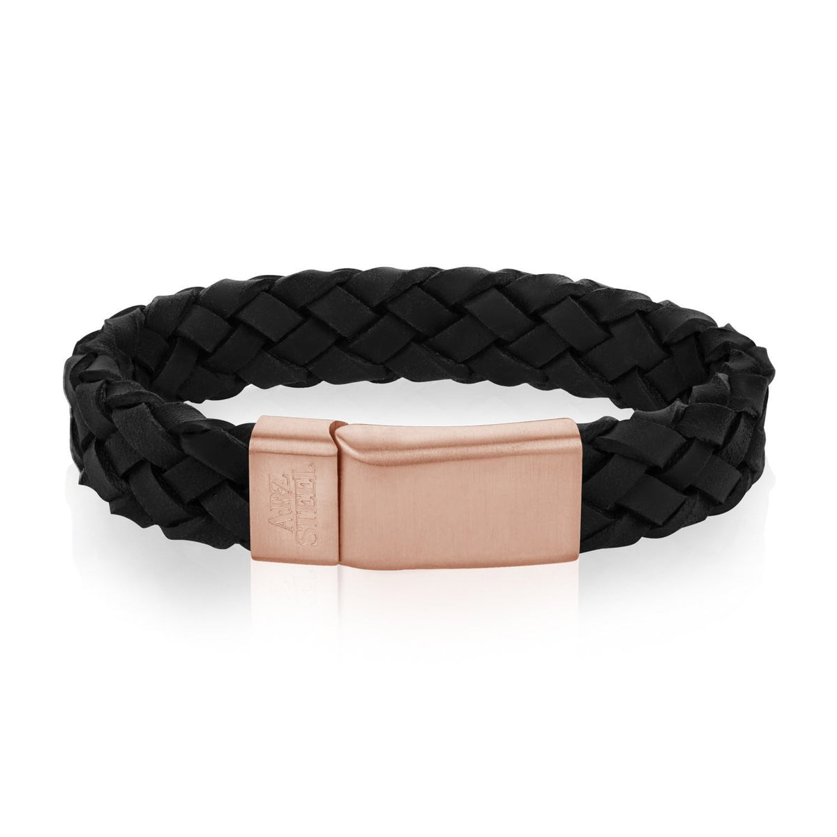 A.R.Z Steel - Black Plaited Leather Rose Gold Clasp Bracelet