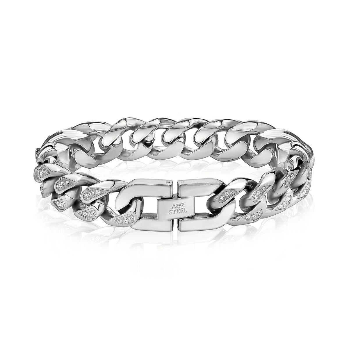 A.R.Z Steel - Open Curb Cz Stainless Steel Bracelet