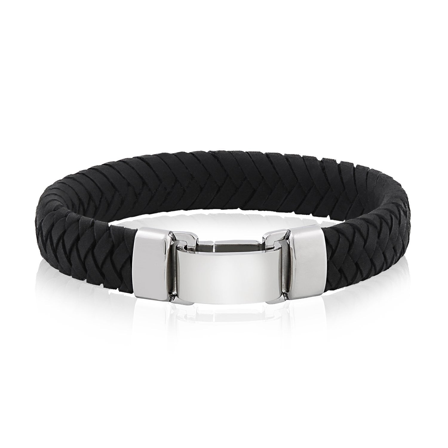 A-R-Z Steel - AAA Italian Black Leather Clasp Bracelet